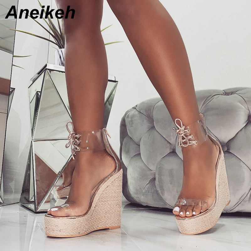 Aneikeh Transparent Sandals Pumps-Shoes Wedges Lace-Up High-Heels Party Gold Black Fashion