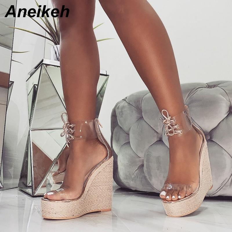 Aneikeh Transparent Sandals Pumps-Shoes Wedges Lace-Up High-Heels Party Gold Black Fashion