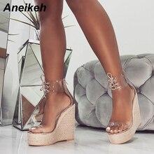 Aneikeh mode PVC sandale femmes Transparent à lacets papillon noeud compensées talons hauts noir or fête quotidienne pompes chaussures concis