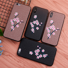 luxury Handmade embroidery 3D Plum blossom case for iphone X girl phone cases x 6 6s 8 7 plus cover iphoneX Case