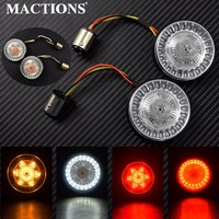 2 bullet 1157 LED Inserts Turn Signal Light For Harley Touring Electra Tri Glide Sportster Softail Dyna 2011 17 Indicator Lamp