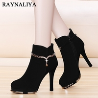 Classic Mid Calf Boots For Women Motorcycle Knight Round Toe High Heel Buckle Short Booties Winter