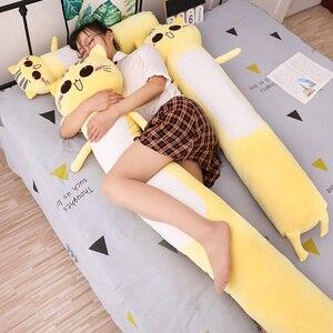 Image 1 - 90 165cm büyük boy oyuncaklar sevimli sarı kedi Pllow yumuşak yastık doldurulmuş hayvanlar kedi peluş oyuncaklar noel hediyesi çocuklar için