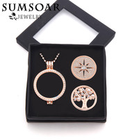 35MM Rose Gold Coin Pendant Necklace Set With Tree Of Life And Sparkling Crystal Coin Disc