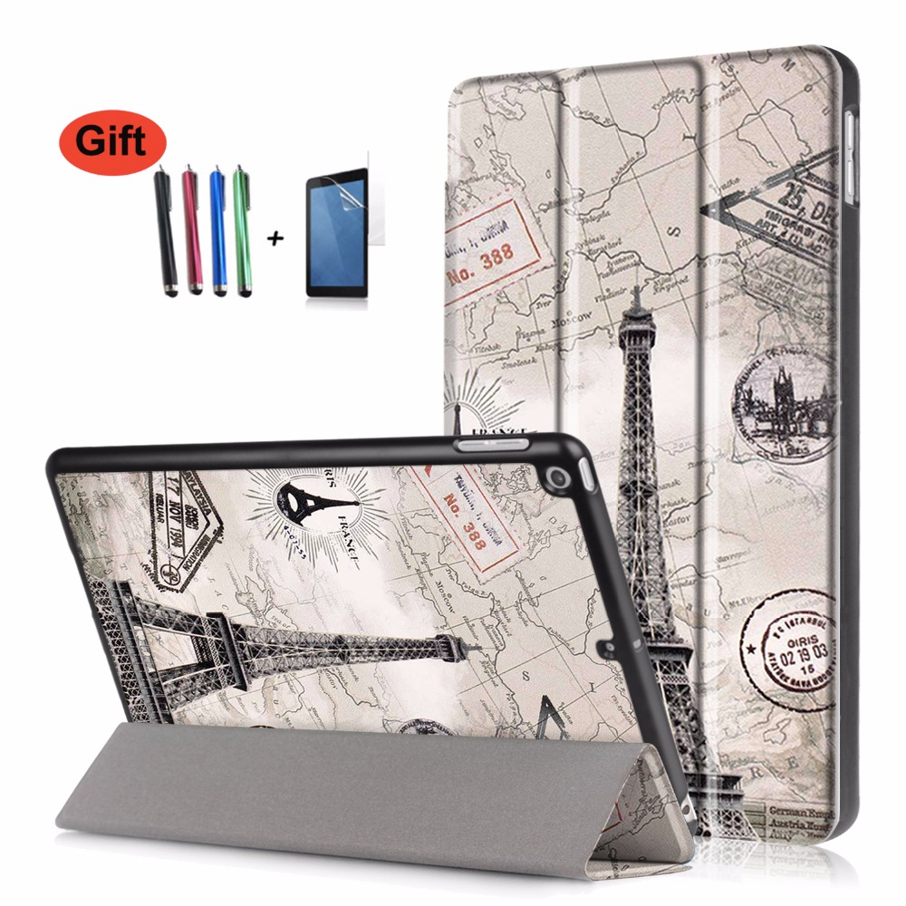 GOOYIYO - Tablet Case For New iPad 9.7 2017 Cover Magnetic PU Leather Trifold Stand Case Shell for iPad 9.7 & Screen Protector