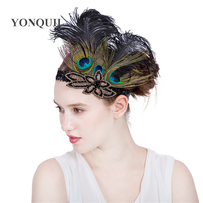 Multi-colors Peacock feathers Hair Accessories Black Sequin headband Party Headpiece Women Flapper Feather headbands SYF179 headpiece