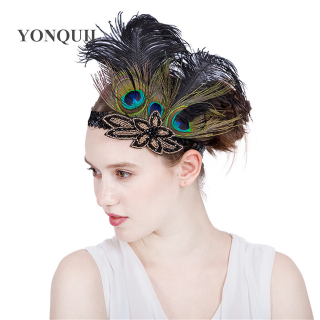 Multi-colors Peacock feathers Hair Accessories Black Sequin headband Party  Headpiece Women Flapper Feather headbands SYF179 0702eafadee