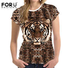 FORUDESIGNS Novelty Tiger Printed Women T Shirt Summer Female Ladies Breathable Leopard Print Short Sleeved Top Tees T-shirt 1