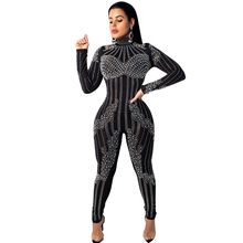 2019 spring womens jumpsuit hot drilling plus pearl mesh see-through sexy nightclub party