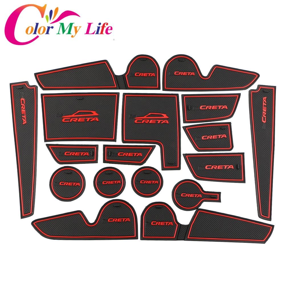 For Hyundai Creta Ix25 Rubber Mats Door Mat Anti-slip Cup Pad Interior Decoration Accessory Styling 2015 - 2018 Gate Slot Pad