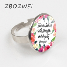 ZBOZWEI She is clothed with Strength and Dignity Ring Proverbs 31:25 Bible Verse Christian Quote Neckalce Inspirational Gifts human dignity