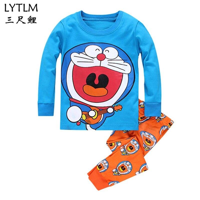 LYTLM Doraemon Kids Boy   Pajamas   Spring and Autumn Kids Long Sleeve   Pajamas   Girls Clothing   Set   Shirts+Pants Sleepwear   Pajama     Sets