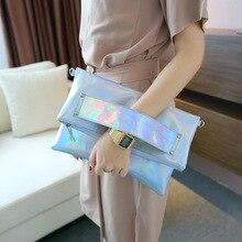 Famosa marca de láser holográfico plateado bolso Handtasche bolso femenino mujeres bolsa de mensajero de la manera bolso crossbody