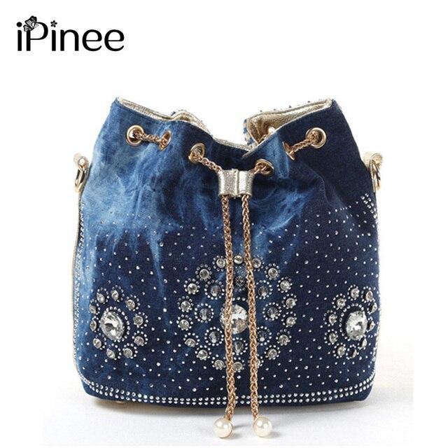 Ipinee Summer 2018 Gold Chain Denim Handbags For Women Casual Bling Rhinestone Jeans Shoulder Bags