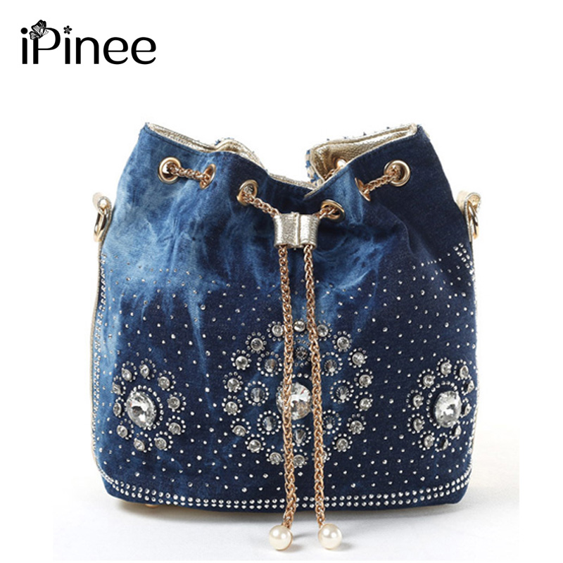 IPinee Summer 2019 Gold Chain Denim Handbags For Women Casual Bling Rhinestone Jeans Women Shoulder Bags