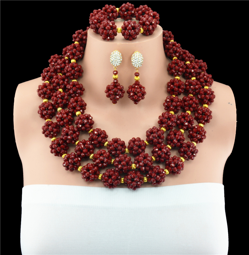 Exclusive Dark Red Nigerian Wedding African Jewelry Sets Gold Dubai Jewelry Set Indian Bridal Beads Set