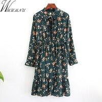 Wmwmnu 2018 Women Autumn Spring Vintage Dress Long Sleeved Floral Print Dress Retro Elastic Waistline Vestidos