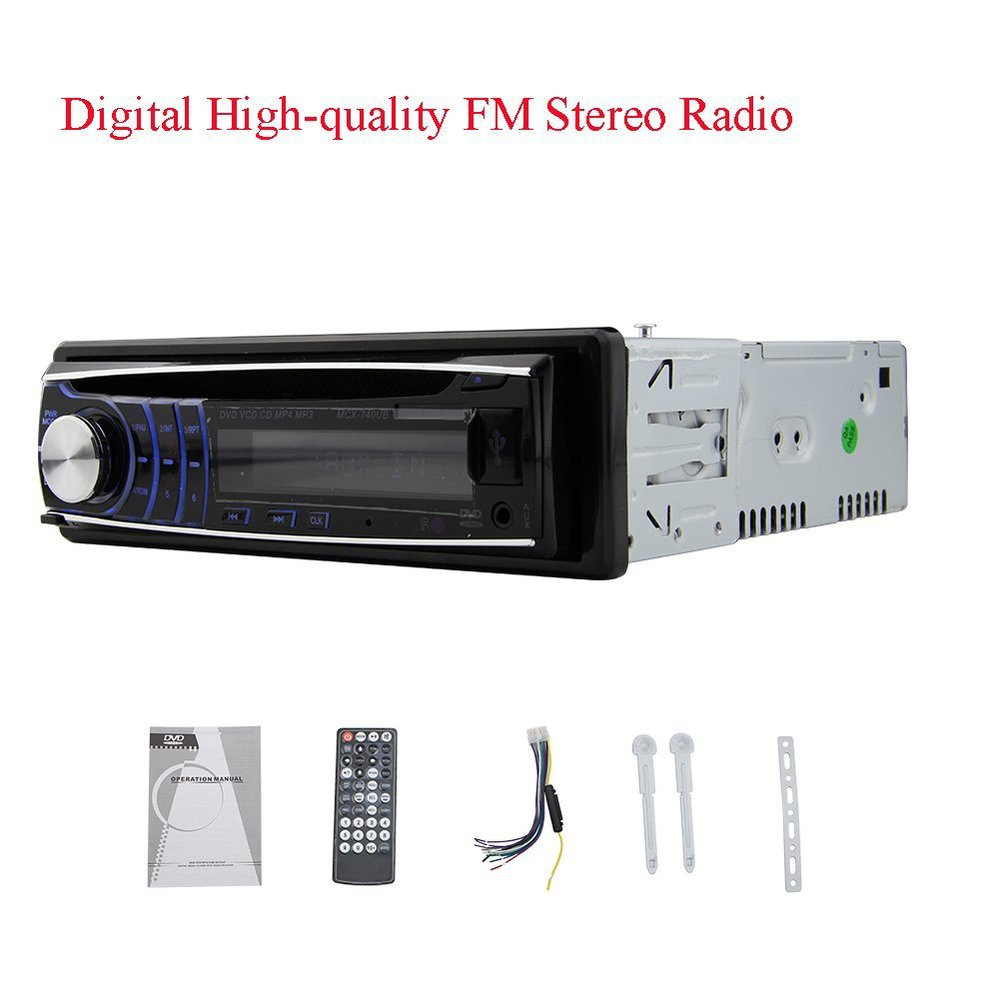 1 din CD DVD Player 1din car Stereo fix panel Car Stereo USB SD FM Aux-in car Radio player MP3 single din Detachable panel car usb sd aux adapter digital music changer mp3 converter for skoda octavia 2007 2011 fits select oem radios