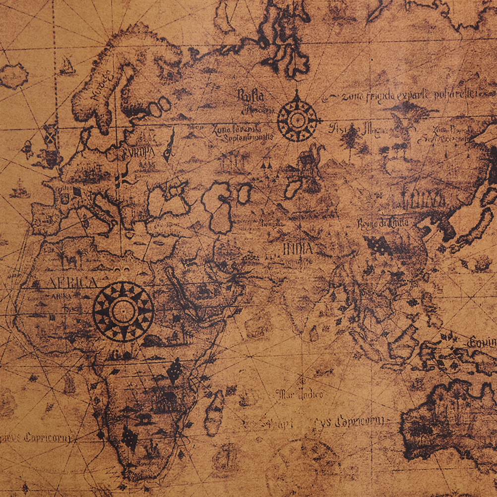 1pc New World Map Paper Posters Retro Vintage Style In Wall