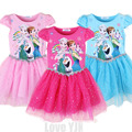 Nuevo Vestido de Verano Niñas Cartton Anna Elsa Dress Niños Vestidos de princesa de La Muchacha disfraces disfraz rapunzel Disfraz ropa Vestidos