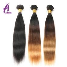 Alimice Ombre Hair Bundles 3 Tones Brazilian Straight Hair Weave Bundles #1b/4/27 Non Remy Bundles Human Hair Extension