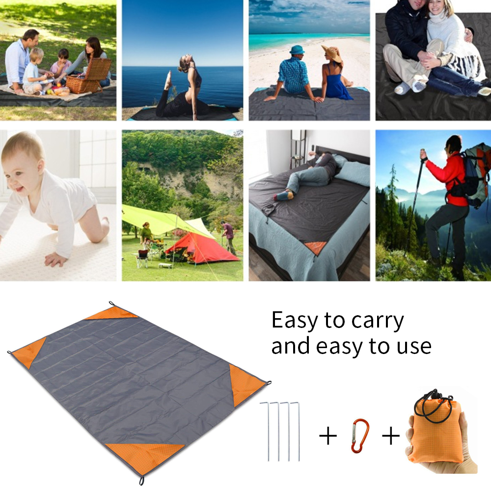 Vertvie Summer Outdoor Beach Blanket Waterproof Camping Mat Spring Picnic Blanket Collapsible With Ground Stakes Carabiner 2019