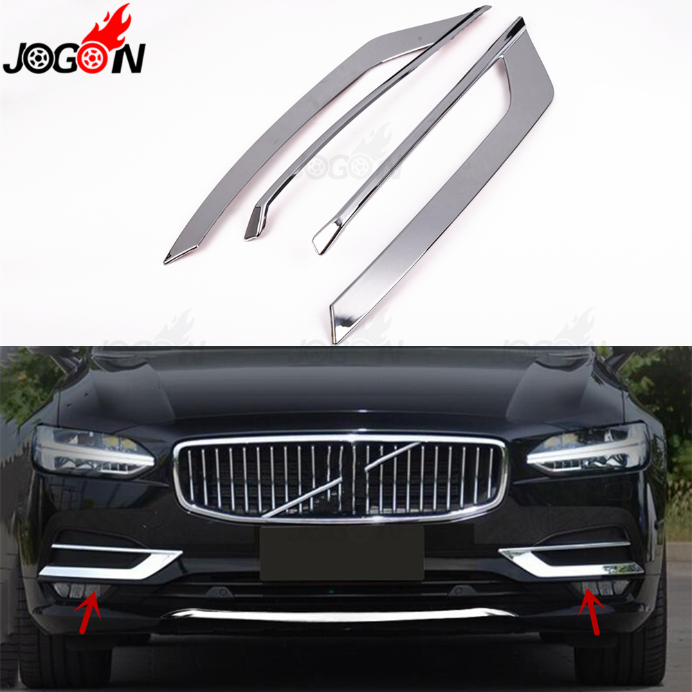 For Volvo S90 2017 2019 Car ABS Chrome Grill Front Fog Light Lamp Eyelid Eyebrow Molding Cover Trim