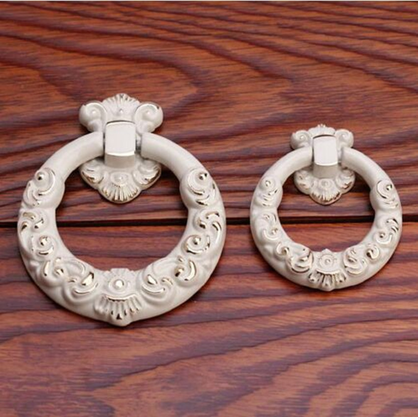 Drop Rings Dresser Knobs Pulls Handles Drawer Pull Kitchen Cabinet Handle Pull Cream White Gold Decorative Knob Furniture handle 3 3 4 dresser drawer pulls handles knob white gold circles french country kitchen cabinet handle knobs pull