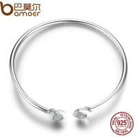BAMOER Authentic 100 925 Sterling Silver Chain Signature Clear CZ Cuff Bangles Fashion Silver Jewelry PAS918