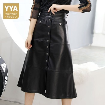 2020 New Women Autumn Winter Black Genuine Leather Lambskin High Waist A-Line Skirt Single Breasted Office Lady Mid Long Skirts
