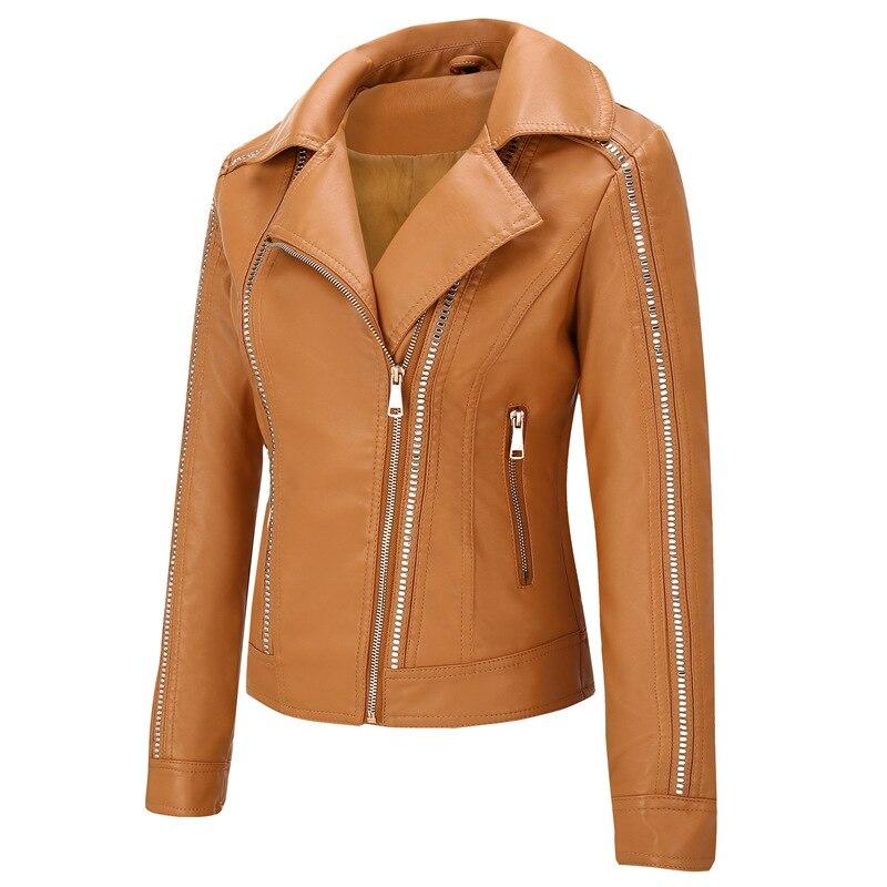 NXH popular rivet   leather   jacket women punk short slim female autumn coat Turn down Collar motorcycle biker jackets