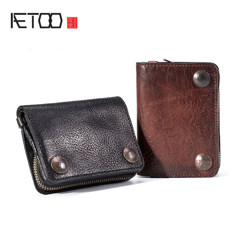 AETOO Vegetable tanned top layer leather men s short wallet retro leather small ticket holder zipper