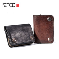 AETOO Vegetable tanned top layer leather men's short wallet retro leather small ticket holder zipper coin purse release driver's