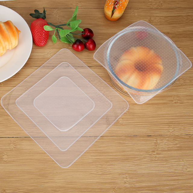 4Pcs Silicone Bowl Covers Food Fresh Keeping Wrap Reusable Silicone Wrap Seal Lid Cover Stretch Vacuum Food Wrap Kitchen Acc 3
