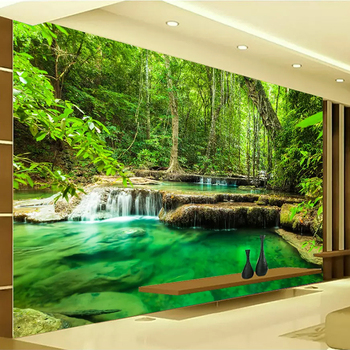 Custom 3D Photo Wallpaper Green Forest Scenery Large Wall Painting Living Room Bedroom Background Wall Mural Papel De Parede 3D custom 3d photo wallpaper green forest scenery large wall painting living room bedroom background wall mural papel de parede 3d