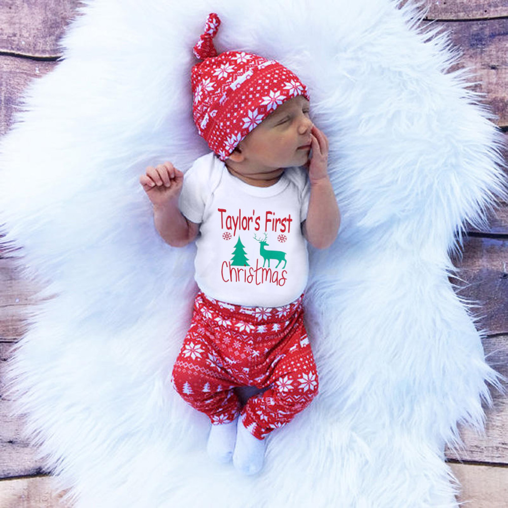 3pcs Newborn Kids Unisex Baby Boy Girl Christmas Gift Children Sets long sleeves Outfits Romper Tops Pants Trousers