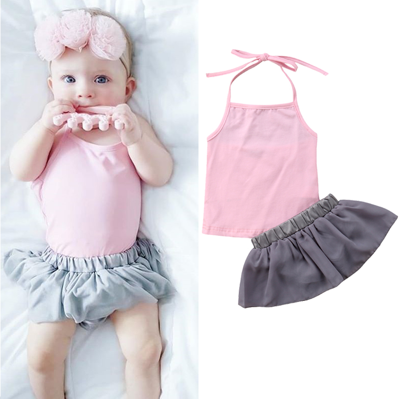 Summer Newborn Baby Girls Halter T-shirt Tops+ Tutu Skirt Shorts 2PCS Baby Outfits Clothes Set