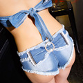 Women Sexy Short Jeans 2016 Summer Fashion Bow Decor Ladies Club Wear Low Rise Slim Sexy Denim Shorts Feminino