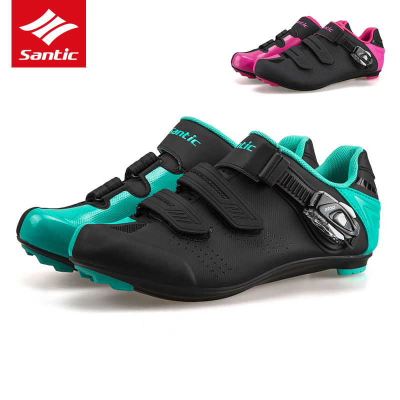 все цены на Santic Road Cycling Shoes TPU Wearable Road Bike Shoes Men Women 2017 PRO Racing Team Self-locking Athletic Bicycle Shoes онлайн