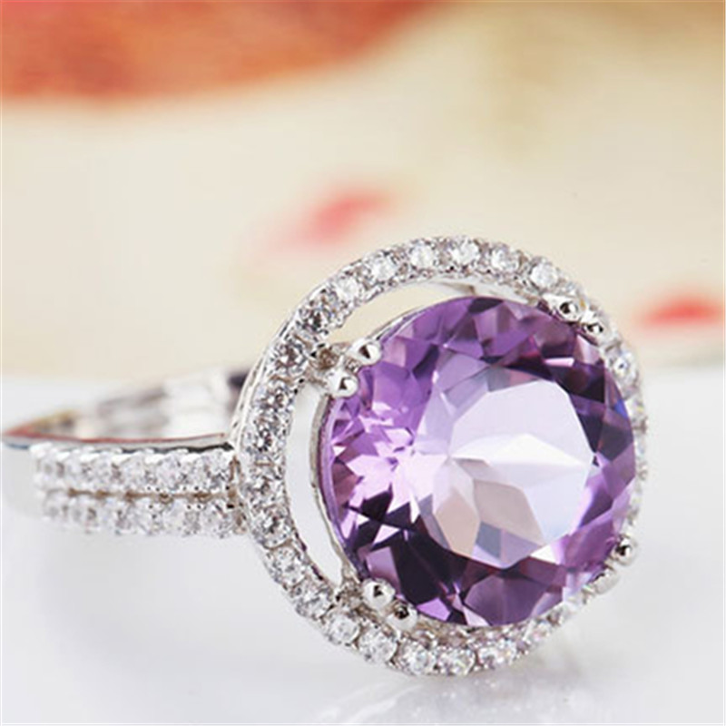 Visisap Pink Large stone Ring AAA cubic zirconia icedout White gold color Vintage Wedding rings For Women fashion jewelry VSR115
