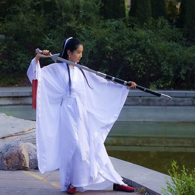 Женщины конг-фу Косплей костюм феи Hanfu одежда Китайский Традиционный древний платье сценический танец ткань Классический белый костюм