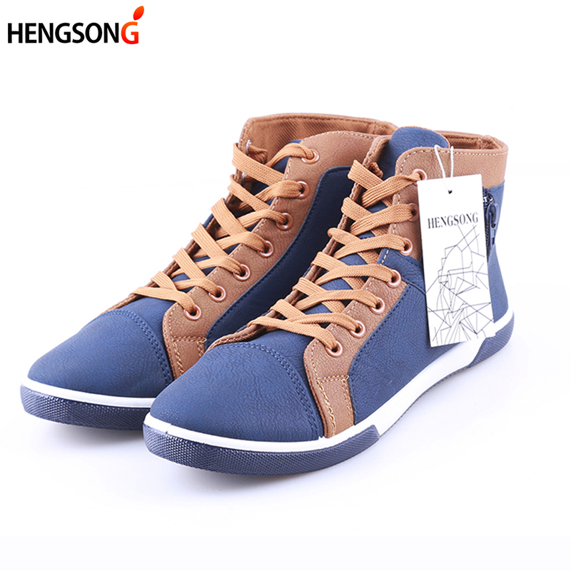 2017 Casual Men Boots PU Leather Lace-Up Fashion Men Retro Boots Shoes Tooling Boots Autumn Warm Ankle Boot Botas OR914654 men spring autumn full grain leather ankle boots lace up fashion casual real leather men boots 20170107