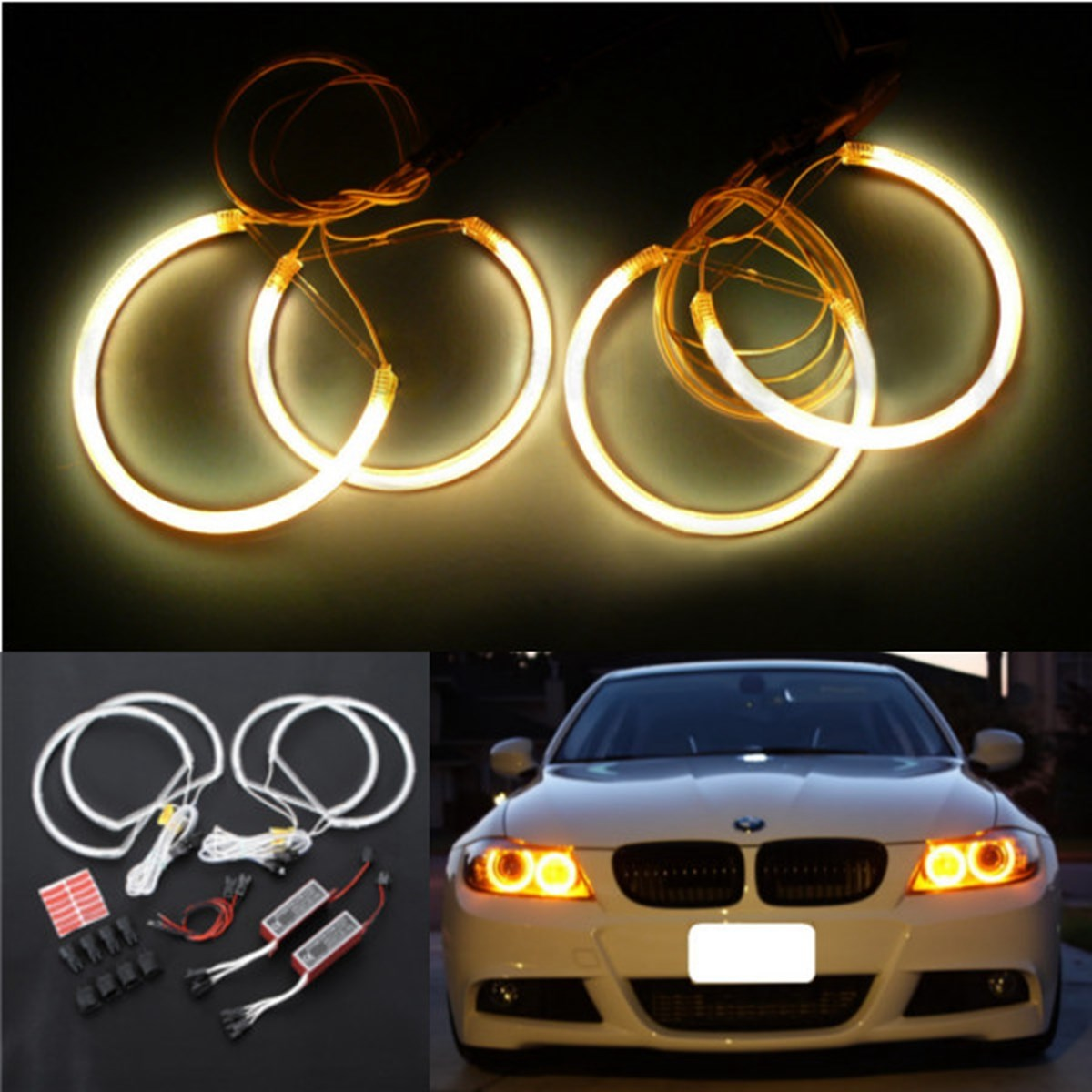 Lowest Price Car Ccfl Led Angel Eye Headlights Led Chip Car Light White Yellow 6000k Auto