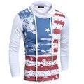 Европейский стиль мужская мода Водолазка с длинным рукавом футболка отдых футболки Сша флаг печать
