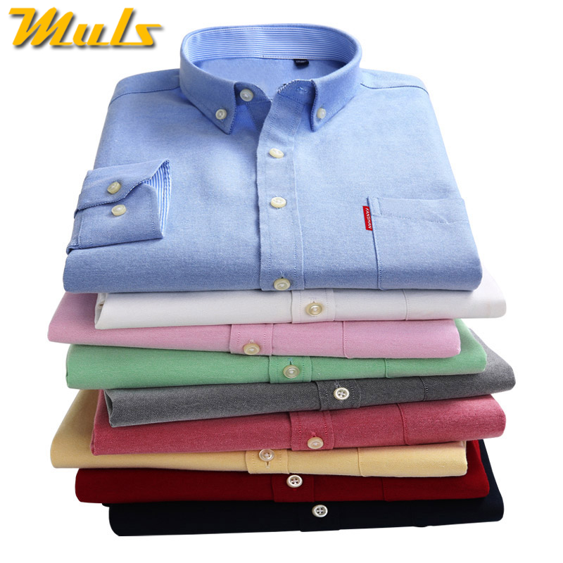 83ed5e057 Plain Shirt Men Casual Brand Clothing High Quality Oxford Cotton Solid Mens  Denim Shirt Long sleeved male shirts Size M 5XL 1558-in Casual Shirts from  Men's ...