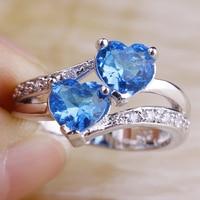 Wholesale Fashion New Jewelry Women Heart Dazzling Blue Topaz & White Topaz 925 Silver Ring Size 6 7 8 9 10 11 12 Free Shipping