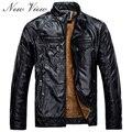 Negro Nueva Lether Chaqueta Hombre 2016 Chaquetas de Motorista Masculinos Cueros de La Pu Coat Para Los Hombres Masculinos Chaqueta de Jean Para Hombre Chaquetas de La Motocicleta