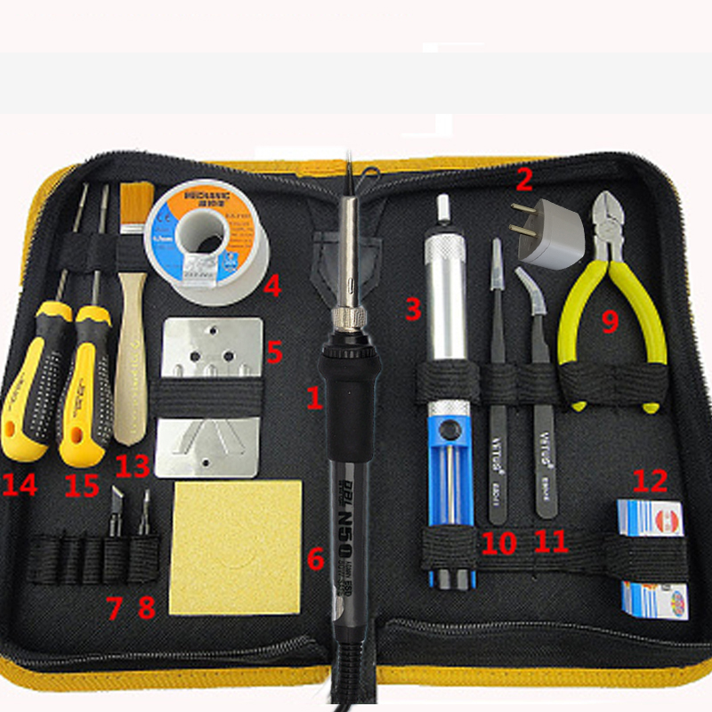 220V 50W Electric Soldering Iron Kit Welding Rework Repair Tool With Solder Wire Desoldering Pump Tools Bag