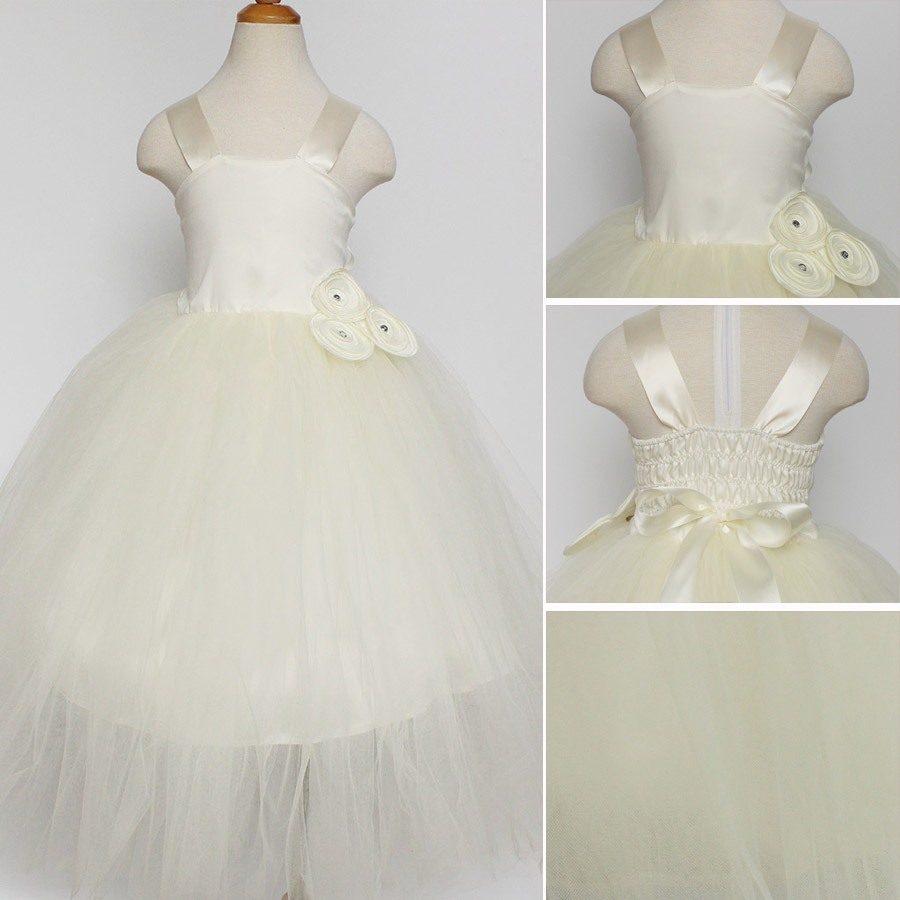 Flower Girl Tutu Dress with Tulle Children Clothes for Gril Pageant Ball Gown Princess Party Prom Birthday Girls Dresses Beige lilac tulle open back flower girl dresses with white lace and bow silver sequins kid tutu dress baby birthday party prom gown