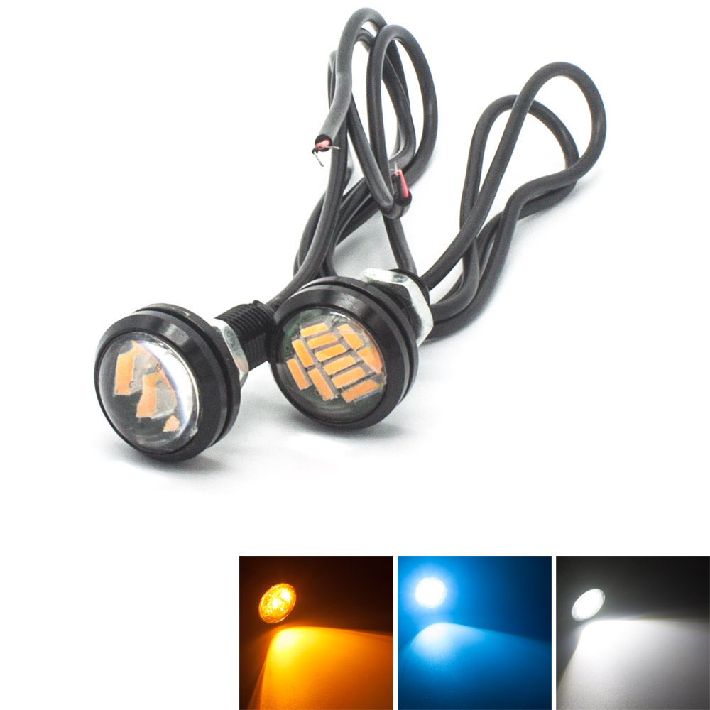 2pcs Eagle Eye 12 LED 4014SMD Driving Running Tail Backup Reverse Parking Signal White Bulb Car styling light source bulb 2015new arrival eagle eye 3 smd led daytime running light 20pcs lot 10w 12v 5730 car light source waterproof parking tail light